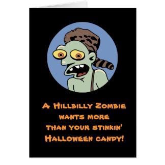 Cartão do Dia das Bruxas do zombi do Hillbilly