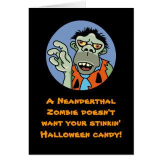 Cartão do Dia das Bruxas do zombi do Neanderthal