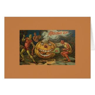 Cartão do Dia das Bruxas dos diabos do Victorian