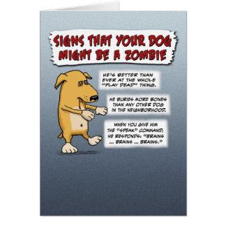 Cartão do Dia das Bruxas engraçado: Cão do zombi