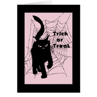 Cartão do Dia das Bruxas, gato da doçura ou