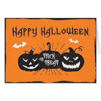 Cartão do Dia das Bruxas Jack O'Lanterns