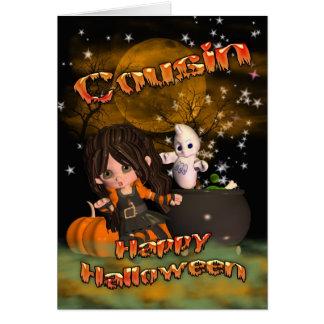 cartão do Dia das Bruxas para o primo, doçura ou t