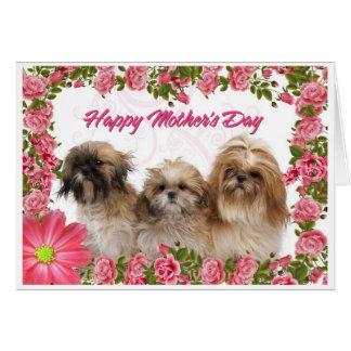 Cartão do dia das mães - cães de Shih Tzu - floral