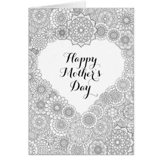 Cartão do dia das mães: Coloração adulta