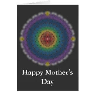 Cartão do dia das mães com arco-íris da borboleta