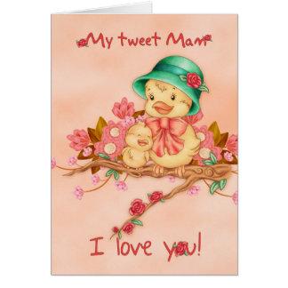 Cartão do dia das mães com bebê e pássaro de Mam,