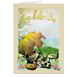 Cartão do dia das mães, com cão pequeno
