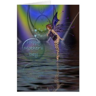 Cartão do dia das mães com fada e bolhas sobre o w