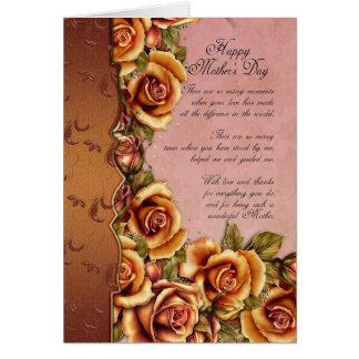 Cartão do dia das mães com rosas e palavras Loving