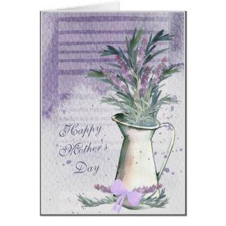 Cartão do dia das mães da aguarela da lavanda & da
