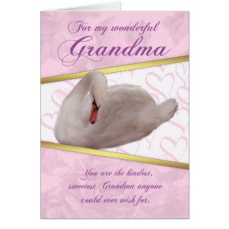 Cartão do dia das mães da avó com cisne - rosa