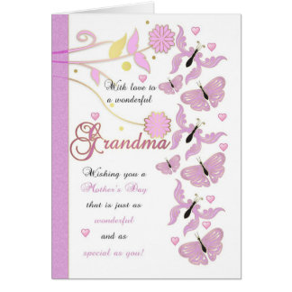 Cartão do dia das mães da avó com flores e Butterf