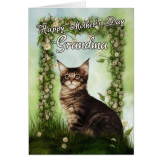 Cartão do dia das mães da avó com gato bonito