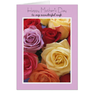 Cartão do dia das mães da esposa -- Rosas