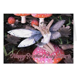 Cartão do dia das mães da irmã - borboleta da flor