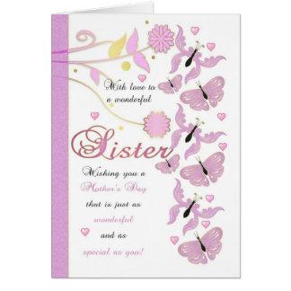 Cartão do dia das mães da irmã com flores e Butter