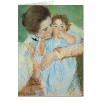 Cartão do dia das mães da mãe e da criança de Mary