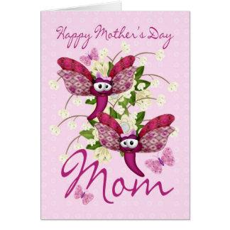 Cartão do dia das mães da mamã com as borboletas