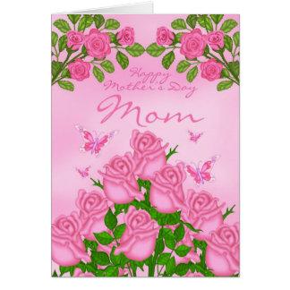 Cartão do dia das mães da mamã com rosas e borbole