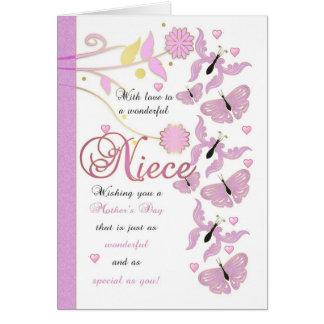Cartão do dia das mães da sobrinha com flores e Bu