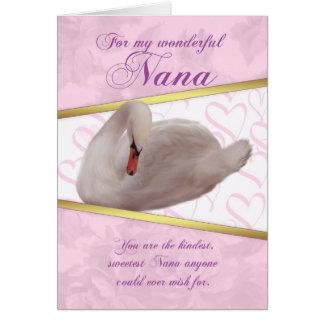 Cartão do dia das mães de Nana com cisne - rosa