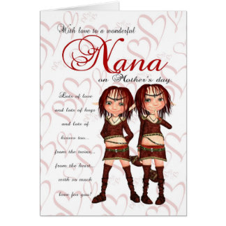 Cartão do dia das mães de Nana dos gêmeos - dois