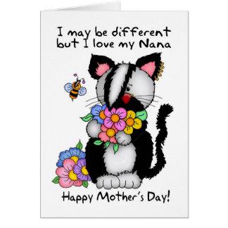 Cartão do dia das mães de Nana - punk/rocha/gato e