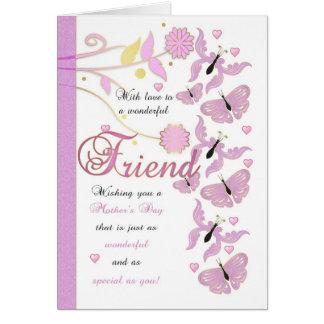 Cartão do dia das mães do amigo com flores e Butte