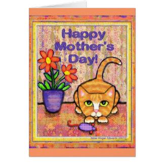 Cartão do dia das mães do gato de gato malhado do