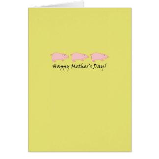 Cartão do dia das mães do porco
