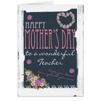 Cartão do dia das mães do professor na moda e mode