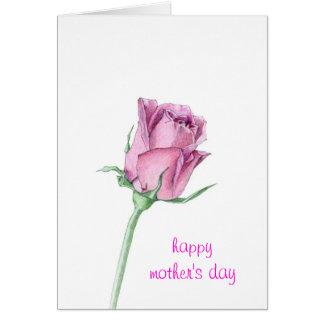 Cartão do dia das mães do rosa do rosa