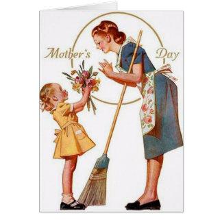 Cartão do dia das mães do vintage com mensagem