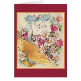 Cartão do dia das mães do vintage para a irmã