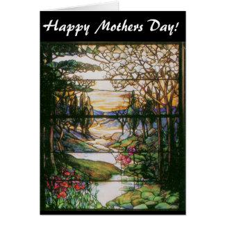 Cartão do dia das mães do vitral do jardim da água