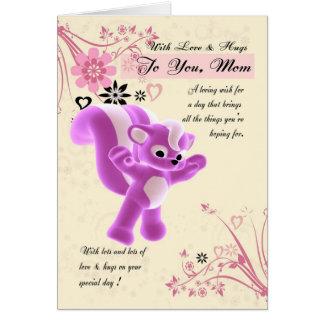 Cartão do dia das mães. Jaritataca bonito pequena