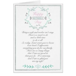 Cartão do dia das mães para a esposa