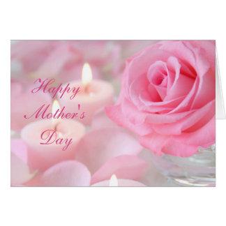 Cartão do dia das mães--Rosa & velas do rosa