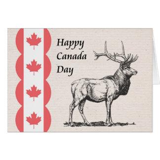 Cartão do dia de Canadá com ícones dos alces e da