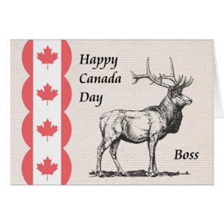 Cartão do dia de Canadá para o chefe com ícone dos