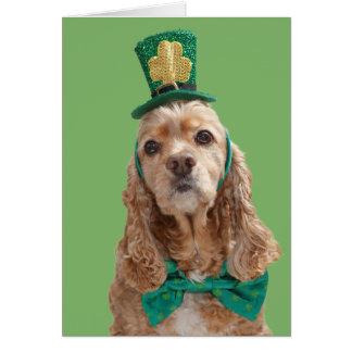 Cartão do dia de cocker spaniel St Patrick
