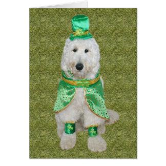 Cartão do dia de Goldendoodle St Patrick