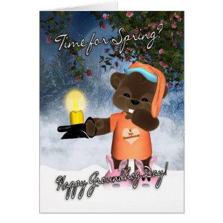Cartão do dia de Groundhog - cartão bonito do dia