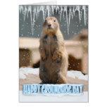 Cartão do dia de Groundhog, dia de Groundhog feliz