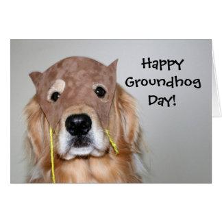 Cartão do dia de Groundhog do golden retriever