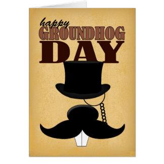 Cartão do dia de Groundhog do Moustache do bigode