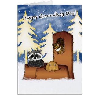 Cartão do dia de Groundhog - Groundog, Racoon,