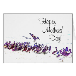 Cartão do dia de mães da arte da praia do pelicano