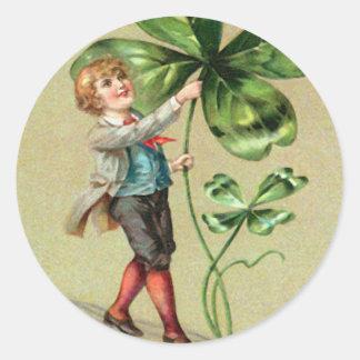Cartão do Dia de São Patrício do trevo da folha do Adesivo